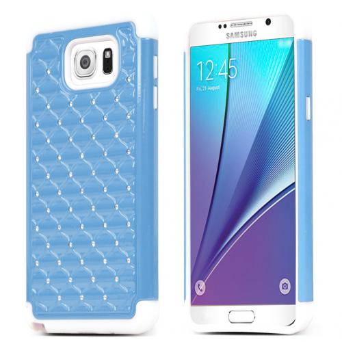 Samsung Galaxy Note 5 Case, [Light Blue/ White Bling] Supreme Protection Bling Plastic on Silicone Dual Layer Hybrid Case