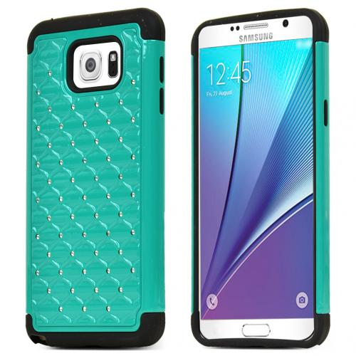 Samsung Galaxy Note 5 Case, [Mint/ Black Bling] Supreme Protection Bling Plastic on Silicone Dual Layer Hybrid Case