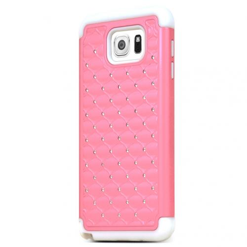 Samsung Galaxy Note 5, [Pink/ White Bling]  Supreme Protection Bling Plastic on Silicone Dual Layer Hybrid Case