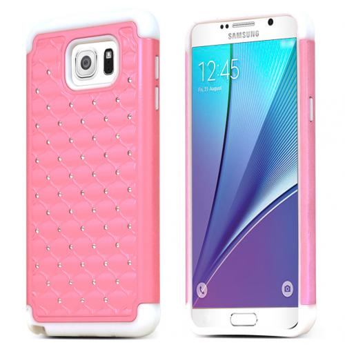Samsung Galaxy Note 5 Case, [Pink/ White Bling] Supreme Protection Bling Plastic on Silicone Dual Layer Hybrid Case