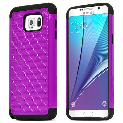 Samsung Galaxy Note 5 Case, [Purple/ Black Bling] Supreme Protection Bling Plastic on Silicone Dual Layer Hybrid Case
