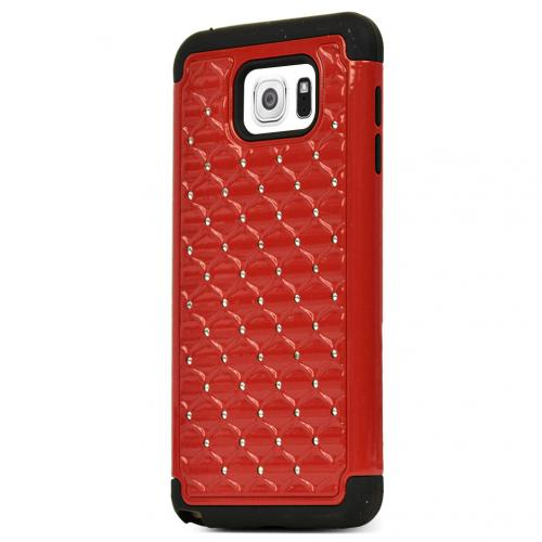 Samsung Galaxy Note 5, [Red/ Black Bling]  Supreme Protection Bling Plastic on Silicone Dual Layer Hybrid Case