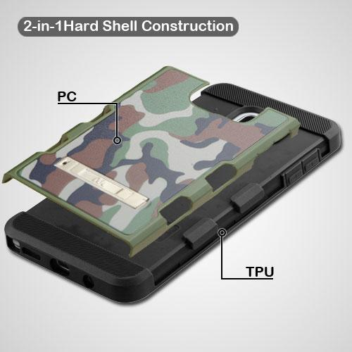 [Samsung Galaxy Note 5] Case, TUFF Trooper Dual Layer Hard Cover Case on TPU Skin w/ Kickstand [Green Classic Camouflage]