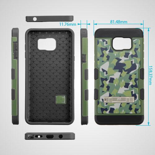 [Samsung Galaxy Note 5] Case, TUFF Trooper Dual Layer Hard Cover Case on TPU Skin w/ Kickstand [Green Geometric Camouflage]