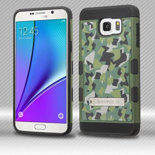 Samsung Galaxy Note 5 Case, TUFF Trooper Dual Layer Hard Cover Case on TPU Skin w/ Kickstand [Green Geometric Camouflage]