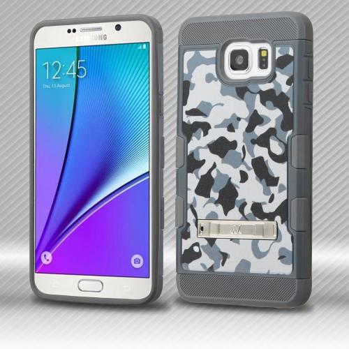 [Samsung Galaxy Note 5] Case, TUFF Trooper Dual Layer Hard Cover Case on TPU Skin w/ Kickstand [Iron Gray Urban Camouflage]