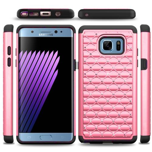 Samsung Galaxy Note 7 Case, [Baby Pink Bling] Heavy Duty Hard Plastic on Silicone Dual Layer Hybrid Case