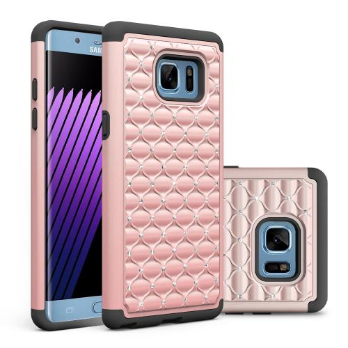 Samsung Galaxy Note 7 Case, [Rose Gold Bling] Heavy Duty Hard Plastic on Silicone Dual Layer Hybrid Case