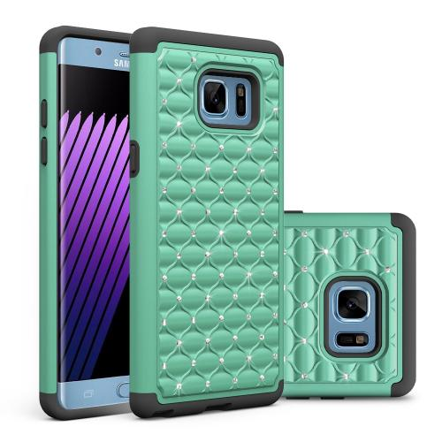 Samsung Galaxy Note 7 Bling Case, REDshield [Mint/Black] Supreme Protection Bling Plastic on Silicone Dual Layer Hybrid Case