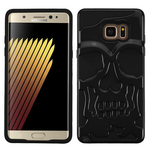 Samsung Galaxy Note 7 Case, Skull Hybrid Dual Layer Hard Case on Silicone Skin [Black]
