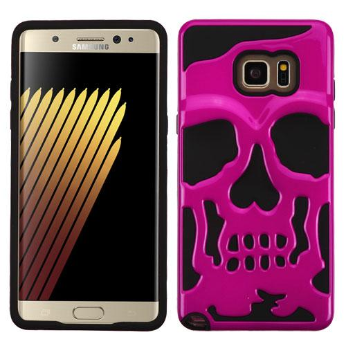 Samsung Galaxy Note 7 Case, Skull Hybrid Dual Layer Hard Case on Silicone Skin [Hot Pink]