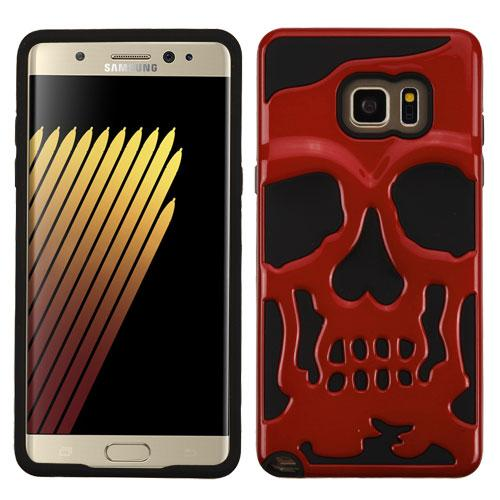 Samsung Galaxy Note 7 Case, Skull Hybrid Dual Layer Hard Case on Silicone Skin [Red]