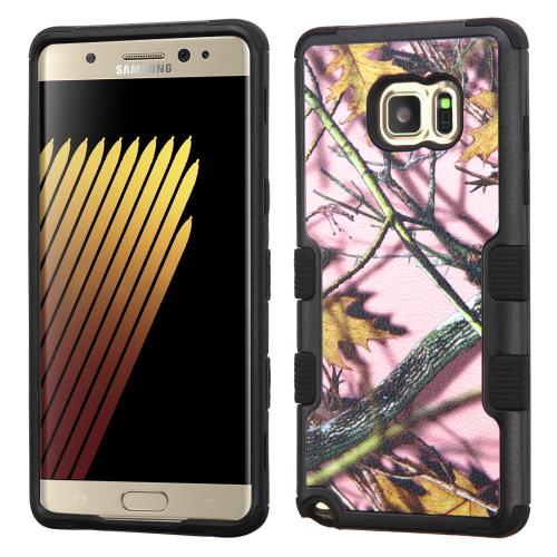 Samsung Galaxy Note 7 Case, TUFF Hybrid Dual Layer Hard Case on Silicone Skin [Pink Oak-Hunting Camouflage]