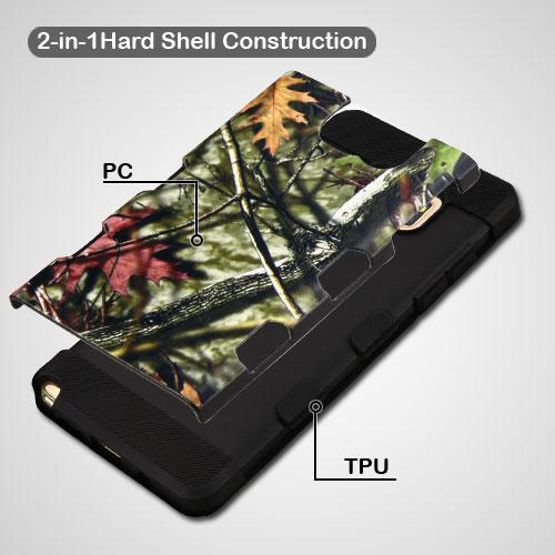 Samsung Galaxy Note 7 Case, TUFF Trooper Dual Layer Hard Cover Case on TPU Skin [Oak Leaves - Hunting Camouflage]