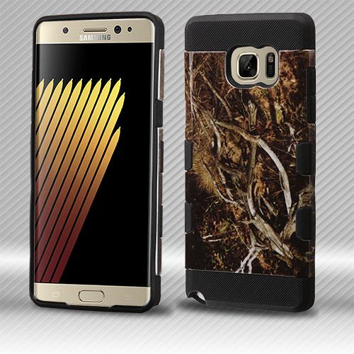 Samsung Galaxy Note 7 Case, TUFF Trooper Dual Layer Hard Cover Case on TPU Skin [Yellow and Black Vines]