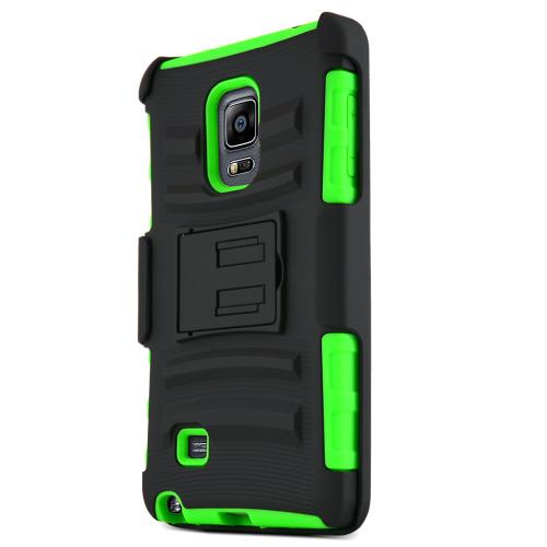 Galaxy Note Edge Case, [Neon Green / Black] Supreme Protection Plastic on Silicone Dual Layer Hybrid Case for Samsung Galaxy Note Edge