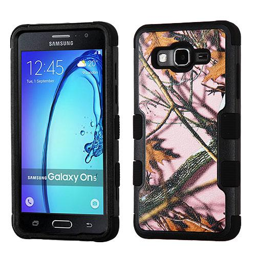 [Samsung Galaxy On5] Case, TUFF Hybrid Dual Layer Hard Case on Silicone Skin [Pink Oak-Hunting Camouflage]