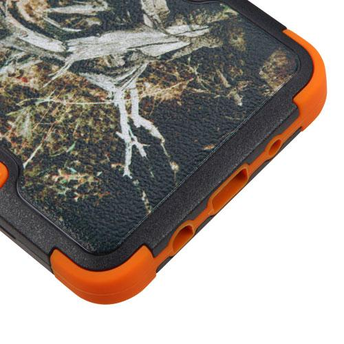 [Samsung Galaxy On5] Case, TUFF Hybrid Dual Layer Hard Case on [Orange] Silicone Skin [Tree Branches on Black]