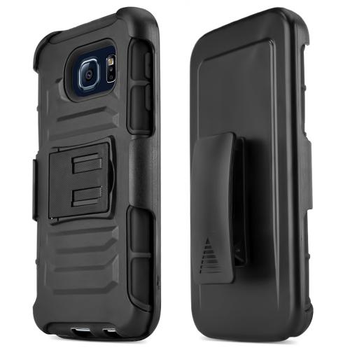 Samsung Galaxy S6 Case,  [Black]  Heavy Duty Dual Layer Hybrid Holster Case with Kickstand and Locking Belt Swivel Clip