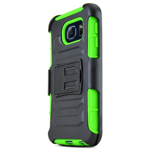 Samsung Galaxy S6 Case,  [Neon Green]  Heavy Duty Dual Layer Hybrid Holster Case with Kickstand and Locking Belt Swivel Clip