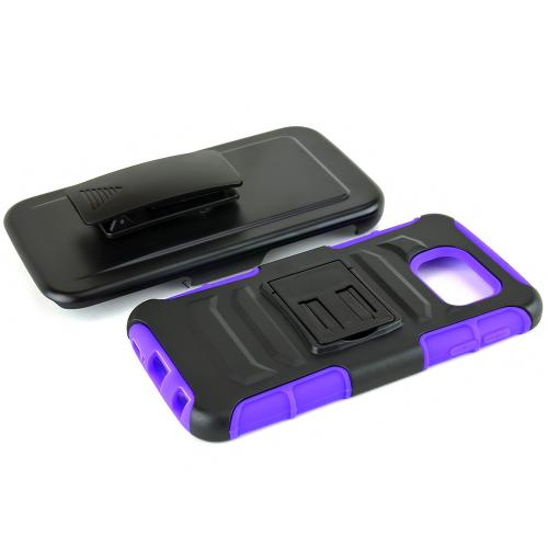 Samsung Galaxy S6 Case,  [Purple]  Heavy Duty Dual Layer Hybrid Holster Case with Kickstand and Locking Belt Swivel Clip