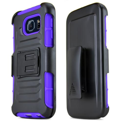 Black Samsung Galaxy S6 Dual Layer Hard Case w/ Kickstand on Purple Silicone Skin Case w/ Holster - Great Protection!