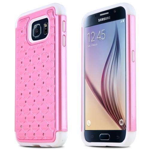 Samsung Galaxy S6 Case,  [Baby Pink Bling]  Supreme Protection Plastic on Silicone Dual Layer Hybrid Case