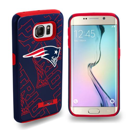 Samsung Galaxy S6 Edge NFL Case, Slim Dual layer Hybrid Hard Case on TPU Case [New England Patriots]