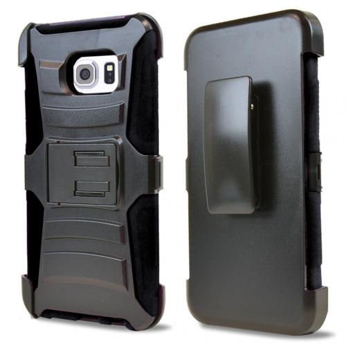 Samsung Galaxy S6 Edge Plus Holster Case, [Black] Supreme Protection Plastic on Silicone Dual Layer Hybrid Case