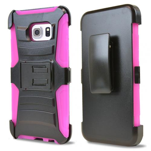Samsung Galaxy S6 Edge Plus Holster Case, [Hot Pink] Supreme Protection Plastic on Silicone Dual Layer Hybrid Case
