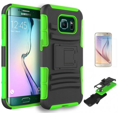 Samsung Galaxy S6 Edge Plus Holster Case, [Neon Green] Supreme Protection Plastic on Silicone Dual Layer Hybrid Case