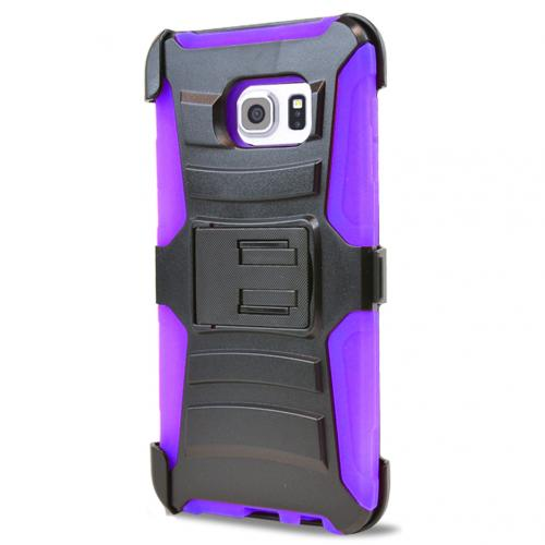 Samsung Galaxy S6 Edge Plus,  [Purple]  Heavy Duty Dual Layer Hybrid Holster Case with Kickstand and Locking Belt Swivel Clip