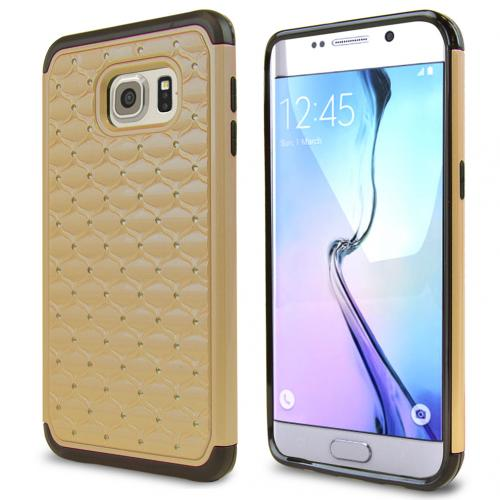 Samsung Galaxy S6 Edge Plus,  [Gold/ Black Bling]  Supreme Protection Plastic on Silicone Dual Layer Hybrid Case