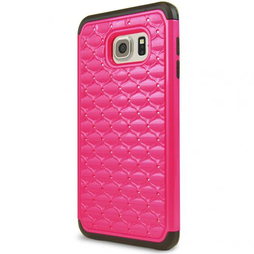 Samsung Galaxy S6 Edge Plus,  [Hot Pink/ Black bling]  Supreme Protection Plastic on Silicone Dual Layer Hybrid Case