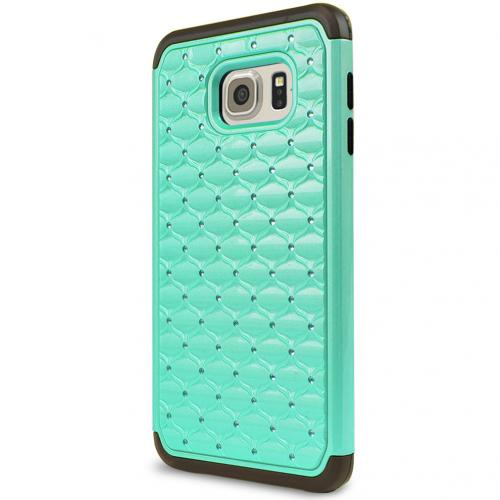 Samsung Galaxy S6 Edge Plus,  [Mint/ Black Bling]  Supreme Protection Plastic on Silicone Dual Layer Hybrid Case