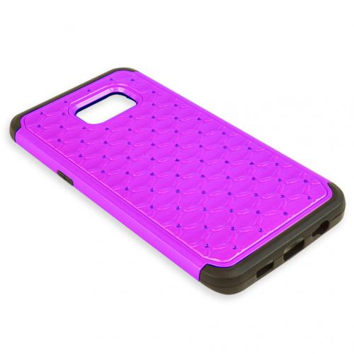 Samsung Galaxy S6 Edge Plus,  [Purple/ Black Bling]  Supreme Protection Plastic on Silicone Dual Layer Hybrid Case