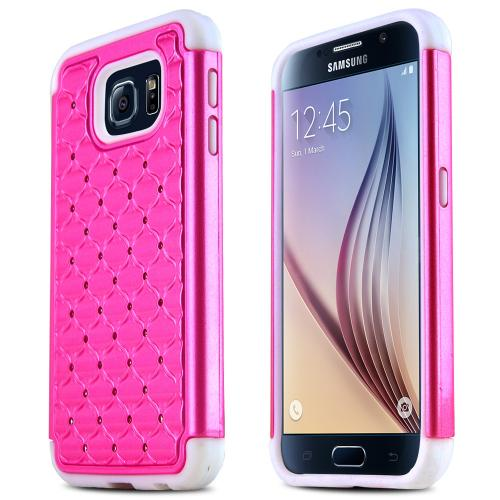 Samsung Galaxy S6 Case,  [Hot Pink Bling]  Supreme Protection Plastic on Silicone Dual Layer Hybrid Case