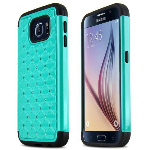 Samsung Galaxy S6 Case,  [Dark Mint Bling]  Supreme Protection Plastic on Silicone Dual Layer Hybrid Case