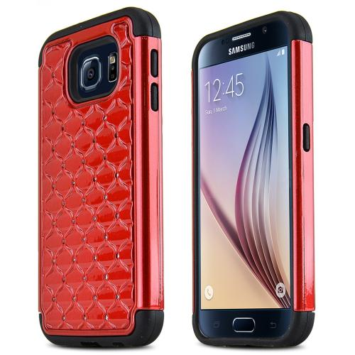 Samsung Galaxy S6 Case,  [Red Bling]  Supreme Protection Plastic on Silicone Dual Layer Hybrid Case