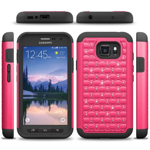 Samsung Galaxy S7 Active Case, REDshield [Hot Pink Bling] Heavy Duty Hard Plastic on Silicone Dual Layer Hybrid Case