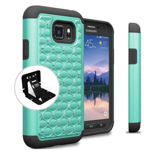 Samsung Galaxy S7 Active Case, REDshield [Mint Bling] Heavy Duty Hard Plastic on Silicone Dual Layer Hybrid Case
