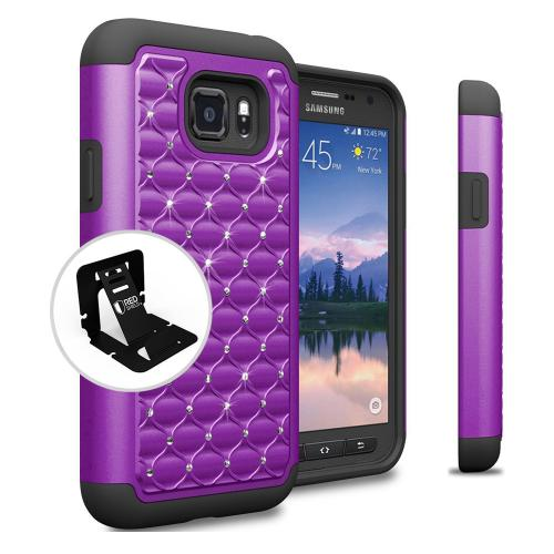 Samsung Galaxy S7 Active Case, REDshield [Purple Bling] Heavy Duty Hard Plastic on Silicone Dual Layer Hybrid Case
