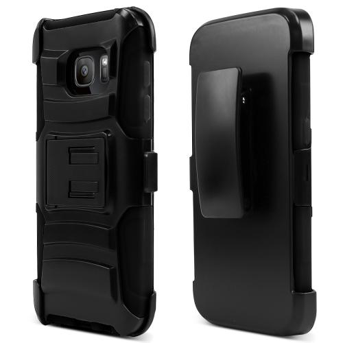 Samsung Galaxy S7 Holster Case, REDshield [Black]  Heavy Duty Dual Layer Hybrid Holster Case with Kickstand and Locking Belt Swivel Clip