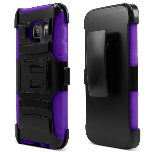 Samsung Galaxy S7 Holster Case, REDshield [Purple]  Heavy Duty Dual Layer Hybrid Holster Case with Kickstand and Locking Belt Swivel Clip