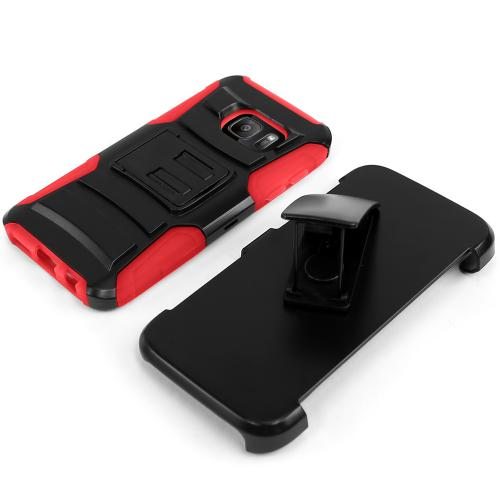 Samsung Galaxy S7 Holster Case, REDshield [Red]  Heavy Duty Dual Layer Hybrid Holster Case with Kickstand and Locking Belt Swivel Clip