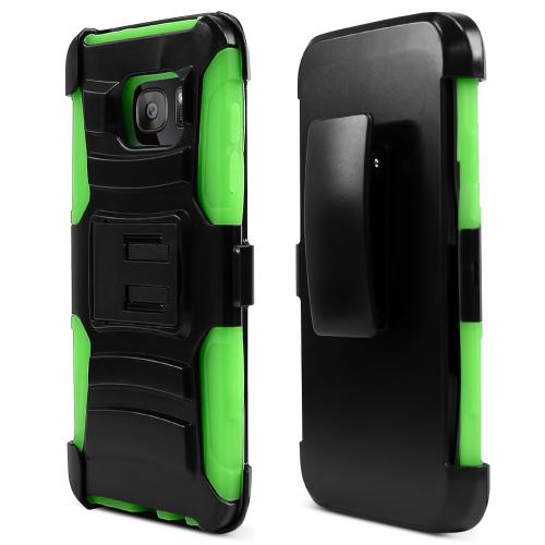 Samsung Galaxy S7 Edge Case, REDshield [Neon Green]  Heavy Duty Dual Layer Hybrid Holster Case with Kickstand and Locking Belt Swivel Clip