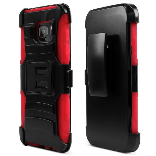 Samsung Galaxy S7 Edge Case, REDshield [Red]  Heavy Duty Dual Layer Hybrid Holster Case with Kickstand and Locking Belt Swivel Clip