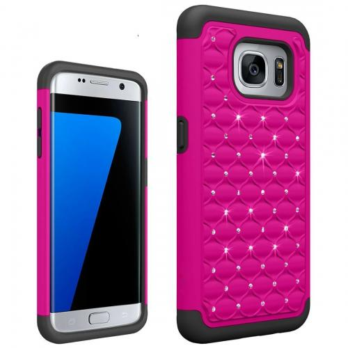 Samsung Galaxy S7 Edge Bling Case, Redshield [Hot Pink/ Black]  Supreme Protection Bling Plastic on Silicone Dual Layer Hybrid Case
