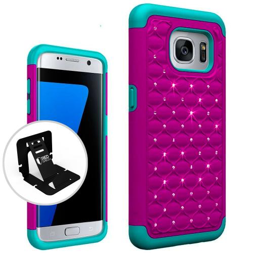 Samsung Galaxy S7 Edge Bling Case, Redshield [Hot Pink/ Mint]  Supreme Protection Bling Plastic on Silicone Dual Layer Hybrid Case