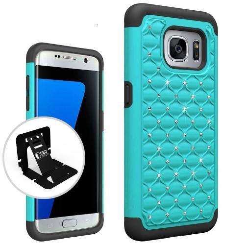 Samsung Galaxy S7 Edge Bling Case, Redshield [Mint/ Black]  Supreme Protection Bling Plastic on Silicone Dual Layer Hybrid Case with Travel Wallet Phone Stand